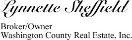 Lynnette Sheffield - Broker/Owner Washington County Real Estate